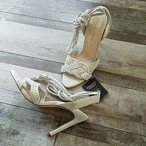 Zara off-white suede lace up heels size 6 1/2